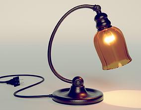 3D asset Old Noir Style Desk Lamp - Working Light-bulb -