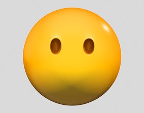 3D Emoji Face Without Mouth