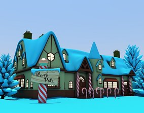 North Pole Santas Workshop Christmas Village 3D model