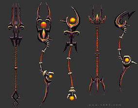 low-poly 3DRT - fantasy arms Staves
