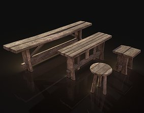 3D model Village Benches and Stools Pack