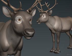 Stylized Cartoon Reindeer 3D