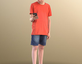 10440 Ingo - Boy Standing And Looking At His Phone 3D