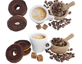 3D model Coffee and donuts