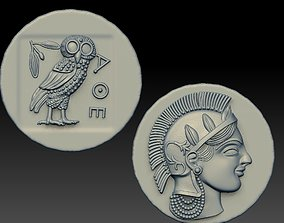 Greek Ancient drachma coin 3D printable model