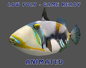Low poly Picasso Triggerfish Animated - Game 3D asset