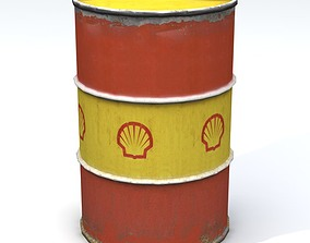 Rusty Shell 55 Gallon Drum 3D model