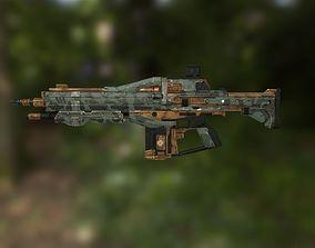 3D model low-poly Assault Rifle