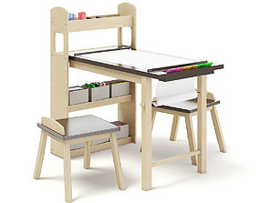 3D Kids Drawing Desk with Stools