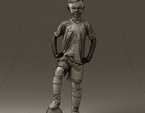 001028 young socker player in whire red uniform 3D Print