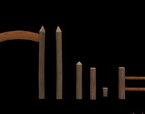 Wooden Fence Pack 3D model