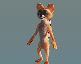 Character Raccoon in low-poly model cartoon-style