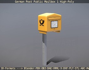 German Post Public Mailbox 1 High-Poly Version 3D model