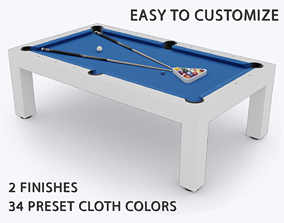realtime PBR Customizable Pool Table Low-poly 3D model