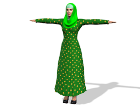 Arabic girl 3D Model with Arabic Burqa rigged