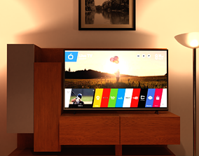 3D LED TV 55 INCH and WOOD CABINET IN REAL SIZE