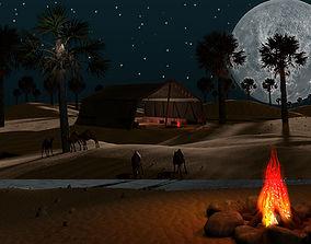 Sahara Desert Arabian Scene with camels 3D model
