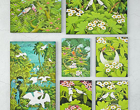 Balinese Garden Bird Paintings 3D