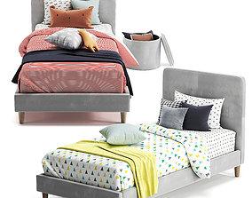3D model Harlow single upholstered Bed