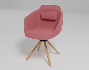 3D model ULTRA - Swivel trestle-based fabric chair with 1