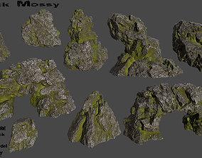 stone 3D asset VR / AR ready mossy rocks