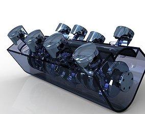 3D model 8 Cylinder Crank Shaft Assembly V2