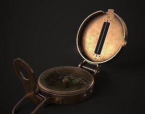 Low Poly Old Metal Compass 3D asset