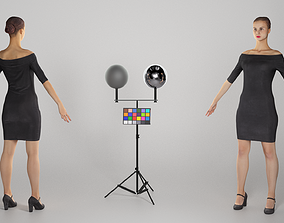 Young woman in little black dress in A-pose 270 3D asset