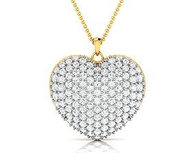gold Women heart pendant 3dm render detail