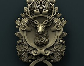 Deer medallion 3d stl model for cnc 3D print model