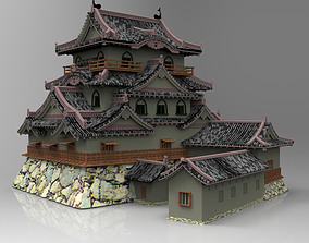 3D Hikone Castle in Studio Max obj and fbx formats