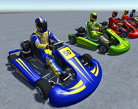 3D model 5 Low Poly Karts With Player Pack - 1