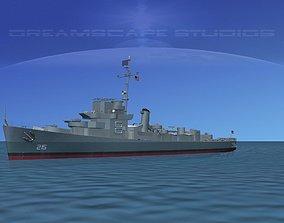 Destroyer Escort DE-215 USS Burke 3D