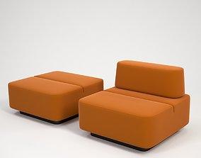 Orange seet sofa 3D model