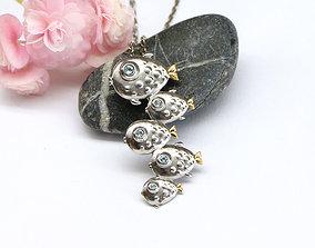 Fish flock pendant necklace model