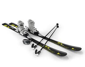 Pair Of Skis And Boots With Goggles 3D
