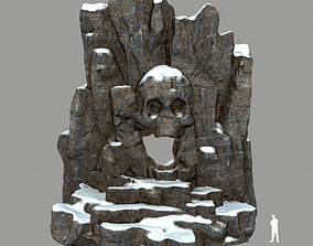 fire skull cave 3D asset low-poly