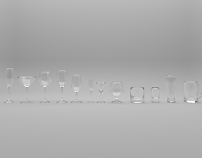 3D set wineglass