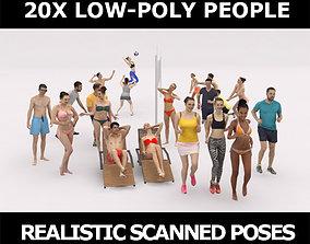 20x LOW POLY SPORT SPORTS BEACH PEOPLE CROWD 3D model