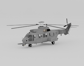 3D asset helicopter airbus H225M CARACAL