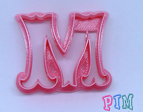 3D print model Vintage letter M cookie cutter alphabet