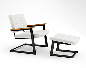 3D model TokenNYC warren lounge armchair and ottoman