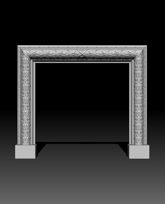Oak Leaves Fireplace Mantel 3D model