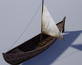 Pack of Medieval Wooden Boats 3D model