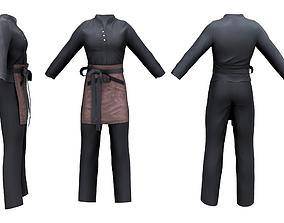 Male Standing Collar Appron Uniform 3D asset