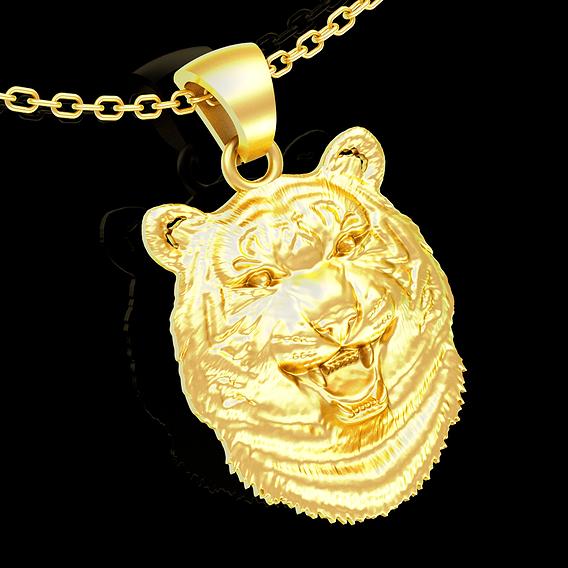 Leopard head pendant jewelry gold necklace medallion 3D print model