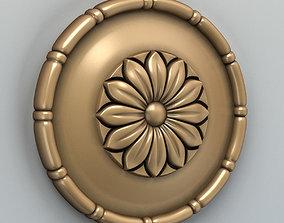 wood Round rosette 001 3D