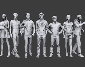 3D model VR / AR ready Lowpoly People Casual