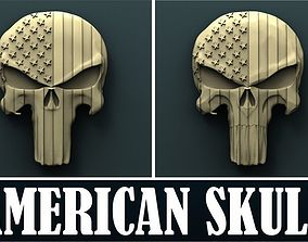 American skull 3d stl model for cnc