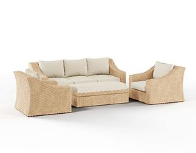 AE Outdoor Elizabeth 4-Piece Wicker Patio 3D model